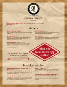 Sunday Brunch Menu 1
