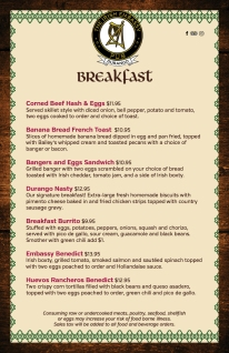 IE breakfast menu 2018