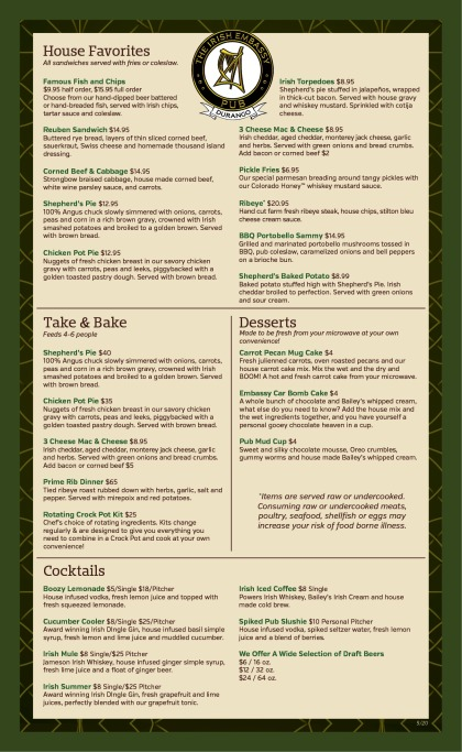 IE take and bake menu 5-20
